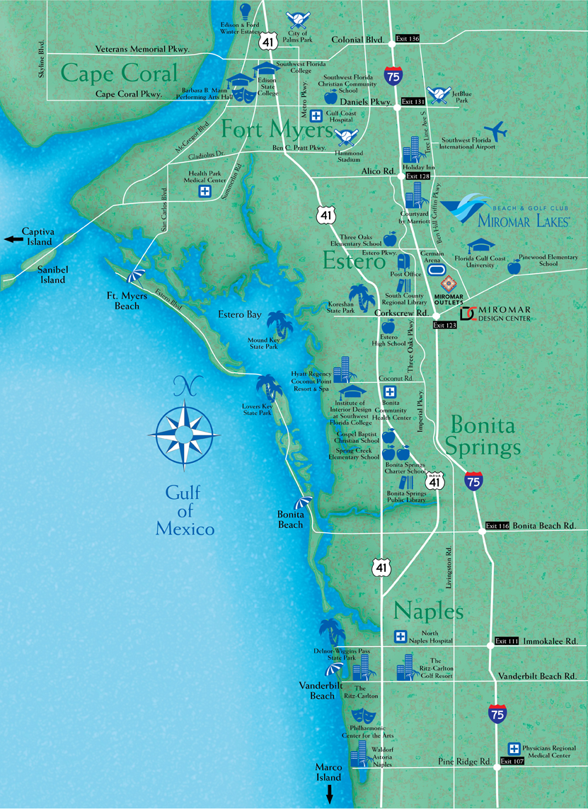 Locate Miromar Lakes Florida Just North Of Naples And Estero In - Florida map cities and towns